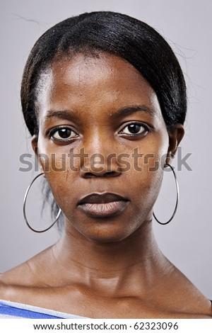 Real beautiful black woman portrait in studio