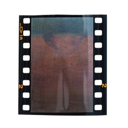 real blank and exposed 35mm film photo strip on white background, just blend in your work via blend mode