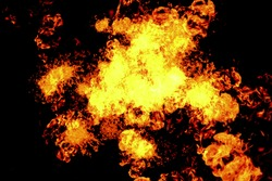 real blast of fire explosion flames burn on black background, flame intro