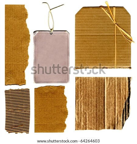Real Cardboard And Paper Item Pieces, Tape and Gift Tag Each Isolated On White