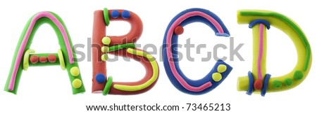 Real cheerful plastic plasticine alphabet- A, B, C, D  letters. Isolated on white