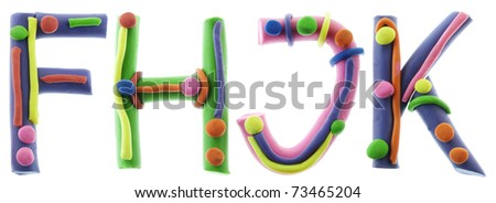 Real cheerful plastic plasticine alphabet- F, H, J, K letters. Isolated on white