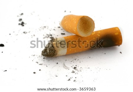 real close-up of two cigarette butts and ashes