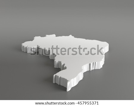 Real 3D shape white silver map of Brazil on gray background. High-resolution 3d illustration. Perspective view