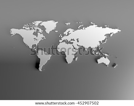 Real 3D White Silver World Map with terrain relief continent on gray background. Image for infographics, business, travel, tourism. Top view. 3d illustration