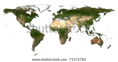 Real detail world map of continents Isolated on white fone Real colur of continents Scene reconstructed from real NASA foto of earth