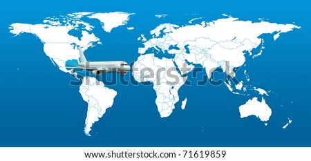 Real detail world map of continents. Isolated on white fone. Real colur of continents. Scene reconstructed from real NASA foto of earth. One aircraft.