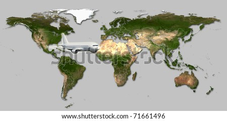 Real detail world map of continents. Isolated on white fone. Real colur of continents. Scene reconstructed from real NASA foto of earth. Several aircraftes.