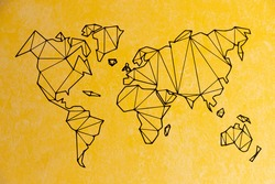 Real detailed world map of continents. Isolated on a yellow background. The real flavor of the continents. Tutorial.