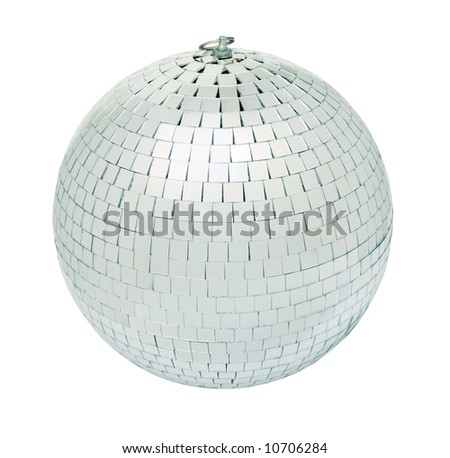 Real disco mirror ball isolated on white background - shot in studio with even lighting