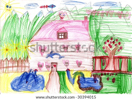 Real draw, home from dreamland.  Children's house from dreams. Fairyland, house of the lucky family.