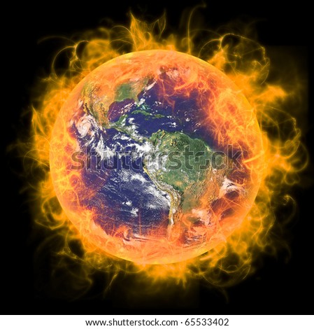 Real Earth Planet in space. In red fire. Remodeled from real Earth NASA foto.