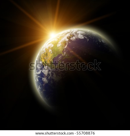 Real Earth Planet in yellow sun