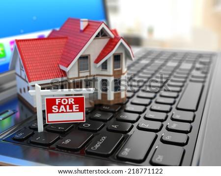 Real estate agency online. House on laptop keyboard. 3d