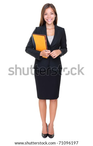 Real estate agent businesswoman on white background. Asian business woman standing in full body.