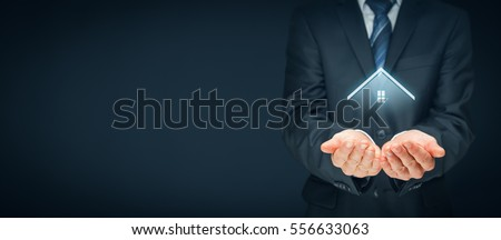 Real estate agent offer house. Property insurance and security concept. Right wide banner composition. Foto stock ©