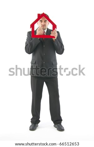 Real estate agent reflected about financing your project, on white background.