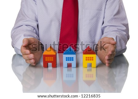 Real estate agent showing houses, isolated with reflection