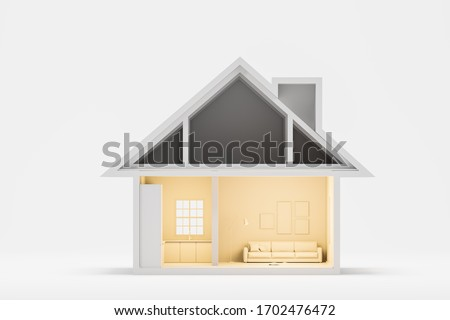 Real estate and mortgage concept. Nice little house, mansion model over white background. 3d rendering