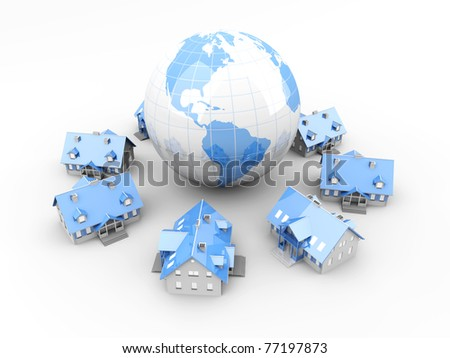 Real estate around the World. 3D rendered Illustration. Isolated on white.