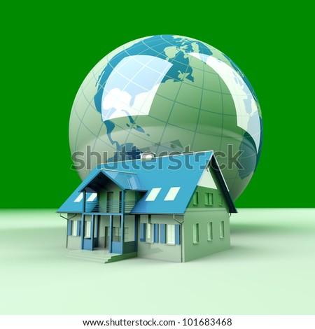 Real estate arround the World. 3D rendered Illustration.