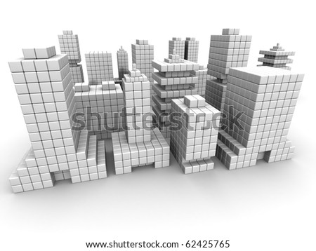 Real estate business commercial building form by cube 3d illustration isolated