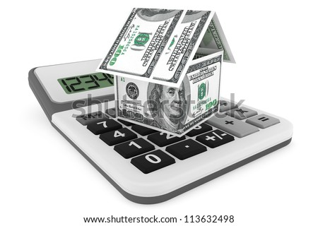 Real estate business concept. Dollars banknotes as House and calculator on a white background