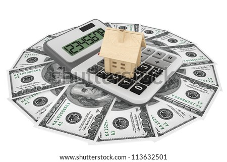 Real estate business concept. Dollars banknotes with wooden House and calculator on a white background