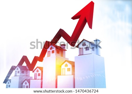 Real estate business growth graph. Arrow graph with house graph. 3d illustration