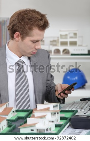 real estate businessman in his office