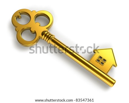 Real estate concept: golden house-shape key isolated on white background