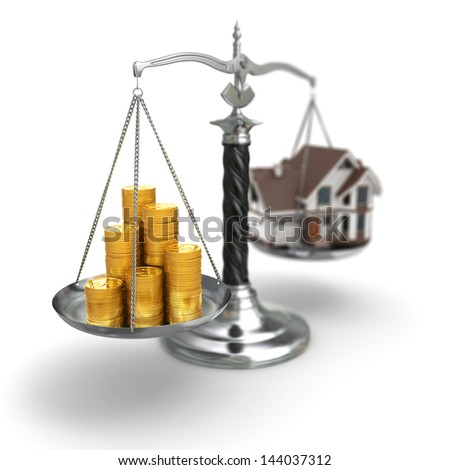 Real estate concept. House and money on scale. 3