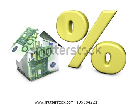 Real estate concept. House shaped with euro banknotes and percent symbol on white background.