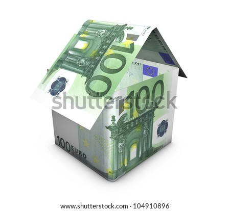 Real estate concept. House shaped with euro banknotes on white background.