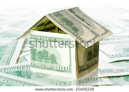 real estate concept. money house from dollar usa