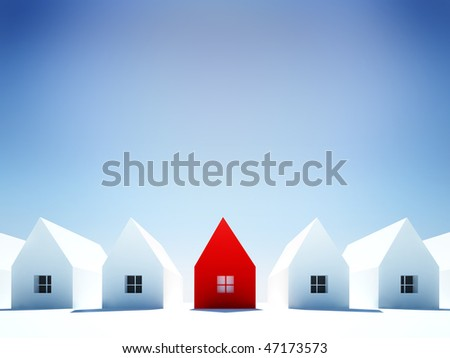 Real estate concept. One red house standing out from the crowd of generic white ones.