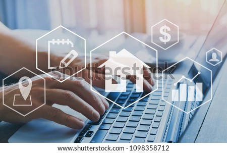 real estate concept, property value diagram, hands typing on computer as background, buy a house