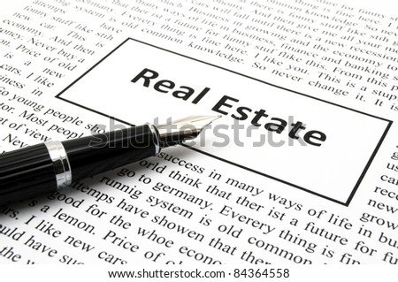 real estate concept with word in newspaper showing home search