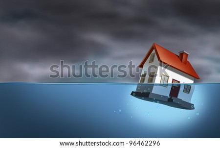 Real estate crisis and housing trouble as a sinking home in water as a dangerous dark stormy cloud background as home builder concept of house challenges and the business of mortgage rates.