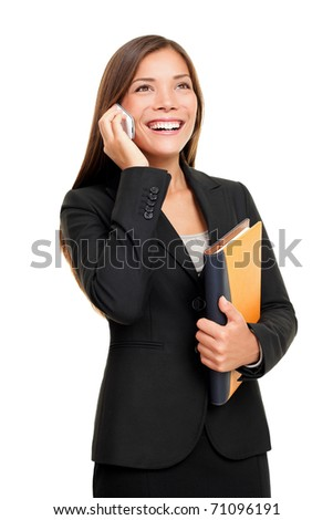 Real estate female agent talking on mobile phone. Busy businesswoman working on white background.