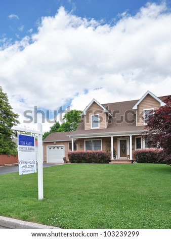 Real Estate For Sale Open House Welcome Sign Suburban Cape Cod Two Story Tall Home Residential District Neighborhood