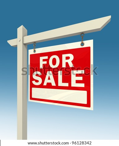 real estate for sale red sign on blue background clipping pah included