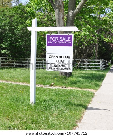 real estate for sale sign rent to own first time buyers