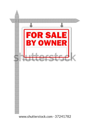Real Estate home for sale sign, by owner