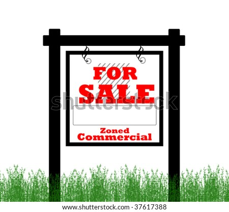 Real Estate home for sale sign, zoned commercial