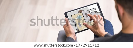 Real Estate Home Property Online Assessor Using Tablet Photo stock ©
