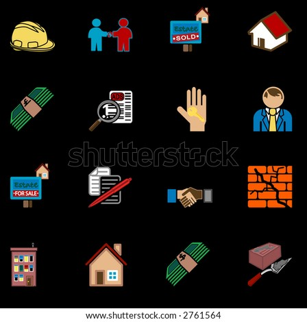 real estate icon series set. icons or design elements related to home / house buying, real estate, or estate gents. Raster version