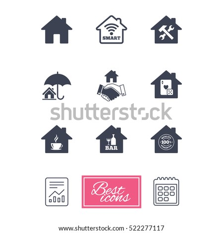 Real estate icons. House insurance, broker and casino with bar signs. Handshake deal, coffee and smart house symbols. Report document, calendar icons.