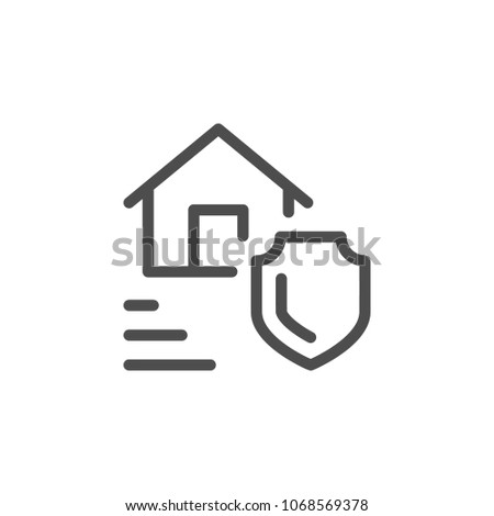 Real estate insurance line icon isolated on white