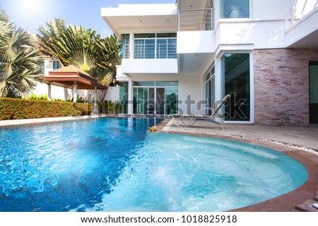 real estate  Interior and exterior design of pool villa which features living area, greenery garden, pavilion and swimming pool home, house ,building
